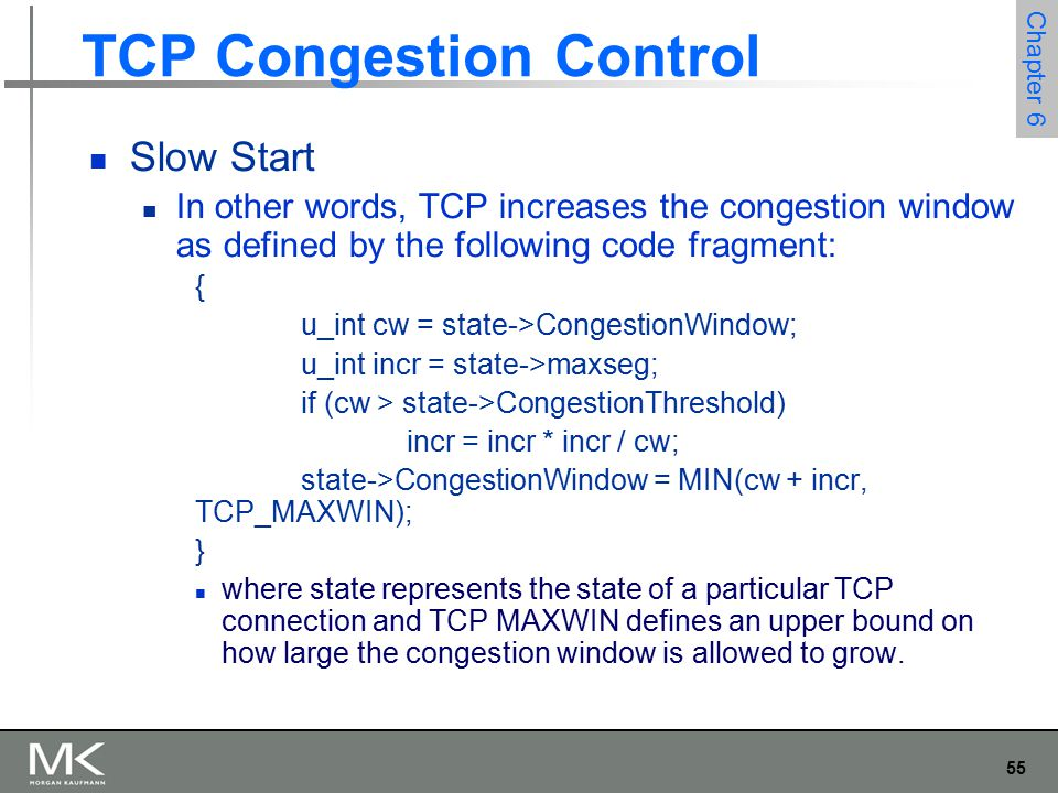 56 Chapter 6 TCP Congestion Control Slow Start Behavior of TCP congestion control.