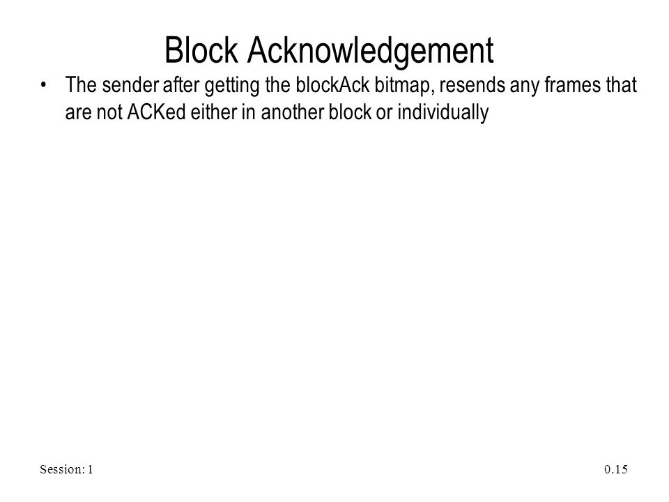 Session: 1 0.15 Block Acknowledgement The sender after getting the blockAck bitmap, resends any frames that are not ACKed either in another block or i