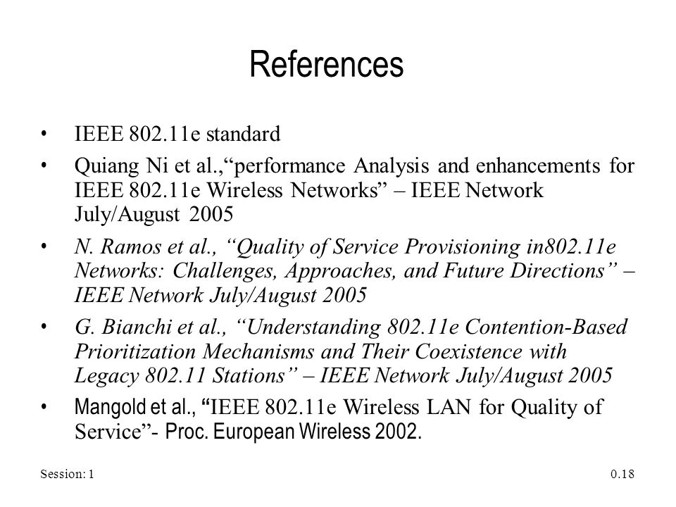 "Session: 1 0.18 References IEEE 802.11e standard Quiang Ni et al.,""performance Analysis and enhancements for IEEE 802.11e Wireless Networks"" – IEEE Ne"