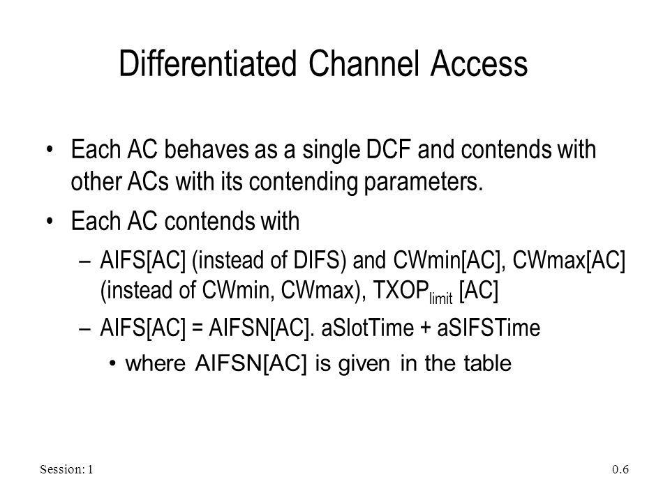 Session: 1 0.6 Differentiated Channel Access Each AC behaves as a single DCF and contends with other ACs with its contending parameters. Each AC conte