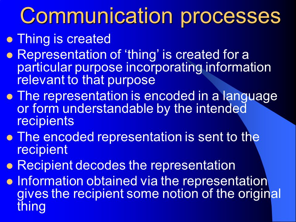 Communication processes Thing is created Representation of 'thing' is created for a particular purpose incorporating information relevant to that purpose The representation is encoded in a language or form understandable by the intended recipients The encoded representation is sent to the recipient Recipient decodes the representation Information obtained via the representation gives the recipient some notion of the original thing