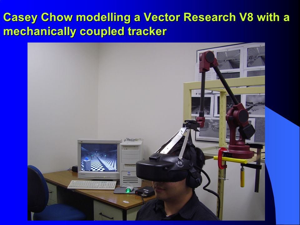 Casey Chow modelling a Vector Research V8 with a mechanically coupled tracker