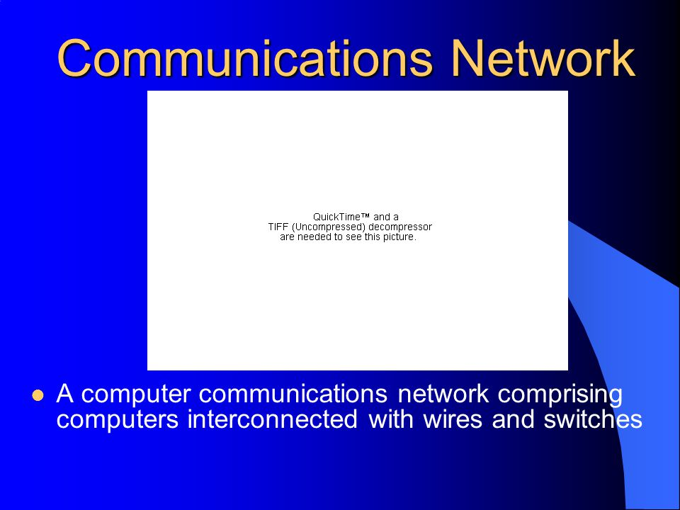 Communications Network A computer communications network comprising computers interconnected with wires and switches