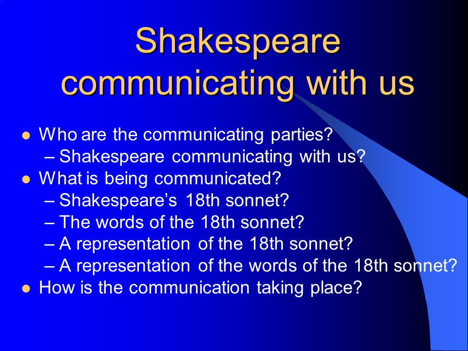 Shakespeare communicating with us (2) Let us take Shakespeare (whoever that may be) as the source of the communication, and ourselves as the recipients Is it important that we know who/what/where the communication originated.