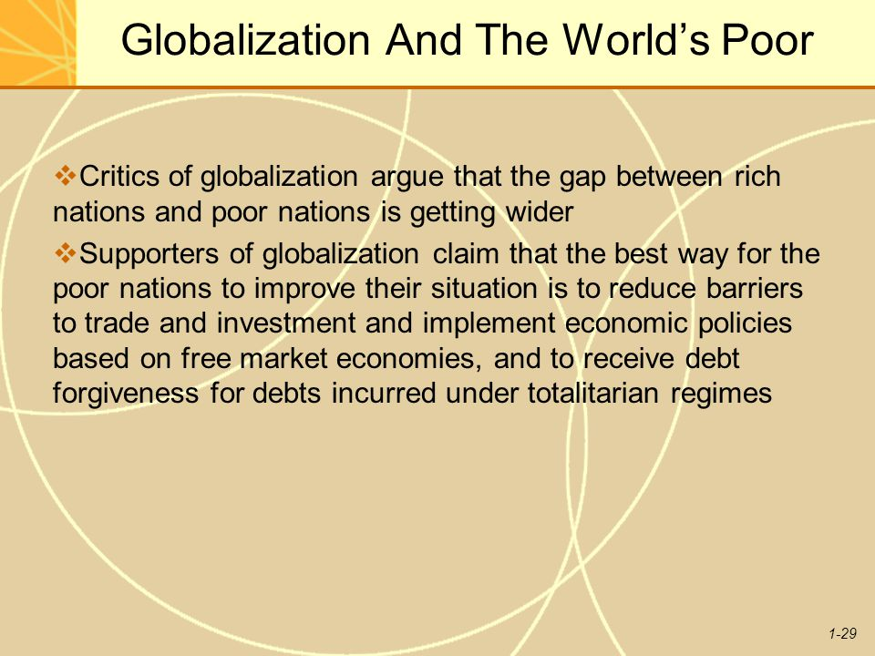 1-29 Globalization And The World's Poor  Critics of globalization argue that the gap between rich nations and poor nations is getting wider  Support