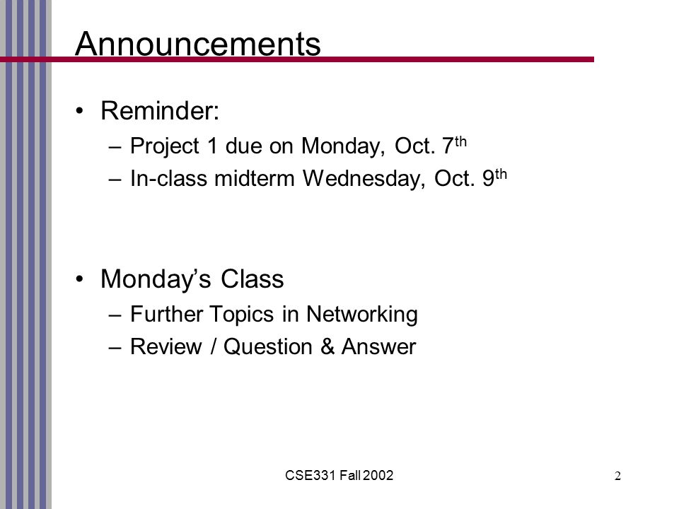 CSE331 Fall 20022 Announcements Reminder: –Project 1 due on Monday, Oct.