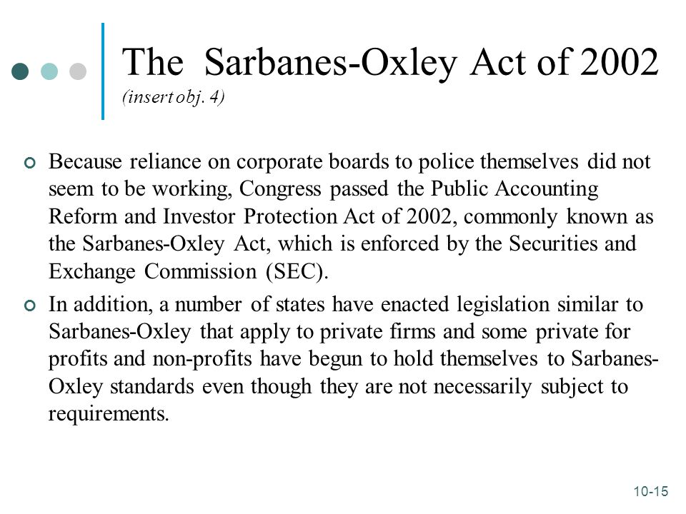 10-15 The Sarbanes-Oxley Act of 2002 (insert obj. 4) Because reliance on corporate boards to police themselves did not seem to be working, Congress pa