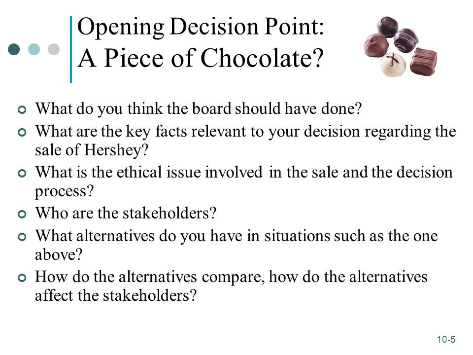 10-5 Opening Decision Point: A Piece of Chocolate? What do you think the board should have done? What are the key facts relevant to your decision rega