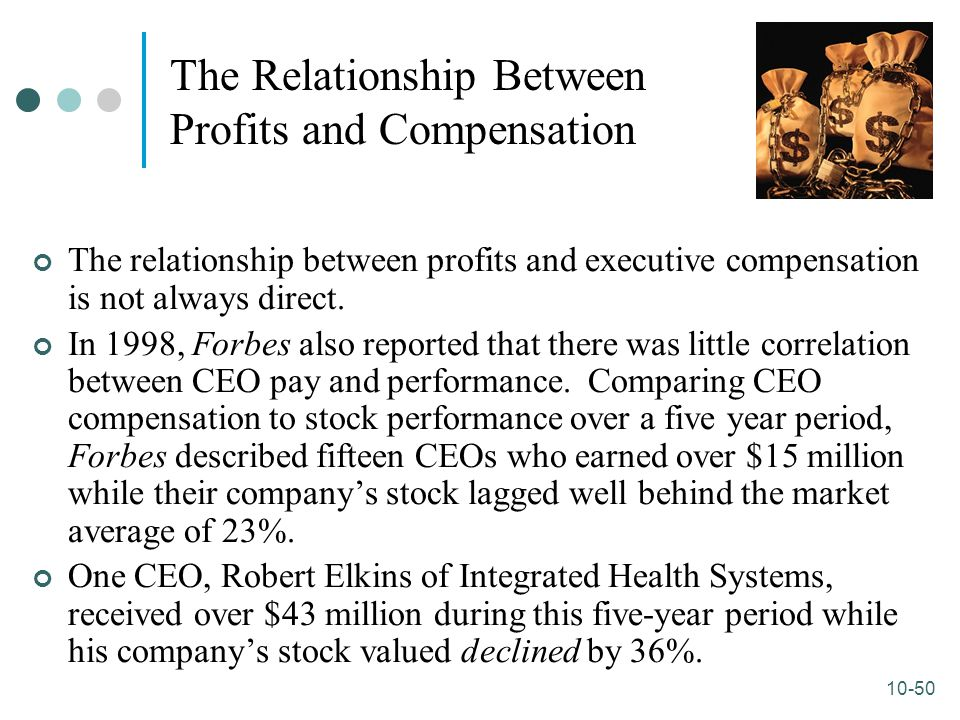 10-50 The Relationship Between Profits and Compensation The relationship between profits and executive compensation is not always direct. In 1998, For