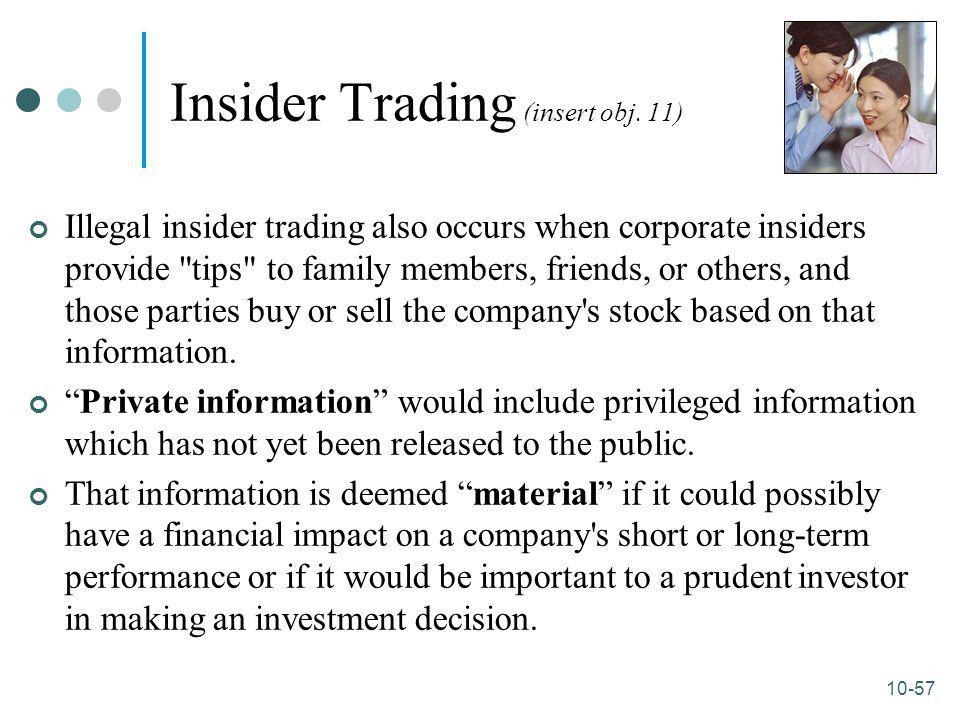 10-57 Insider Trading (insert obj. 11) Illegal insider trading also occurs when corporate insiders provide