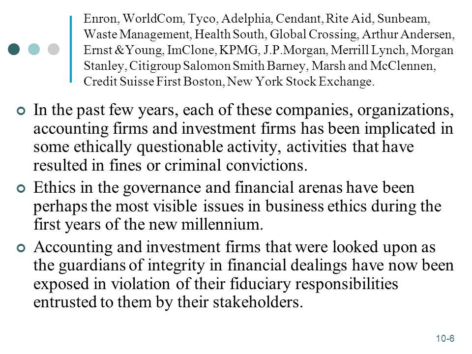 10-6 Enron, WorldCom, Tyco, Adelphia, Cendant, Rite Aid, Sunbeam, Waste Management, Health South, Global Crossing, Arthur Andersen, Ernst &Young, ImCl
