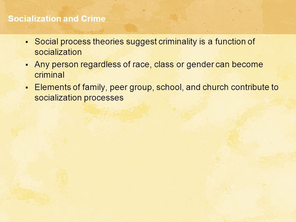 Social Learning Theory  A person becomes criminal when perceiving the consequences of violating the law as favorable  Differential associations vary in frequency, duration, priority, and intensity  The process of learning criminal behavior involves the same mechanisms as any other learning process  Criminal behavior and noncriminal behavior express the same needs and values