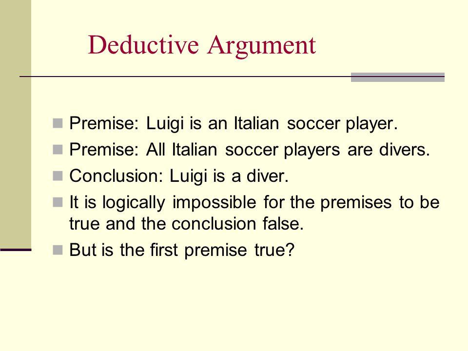 Deductive Argument Premise: Luigi is an Italian soccer player.