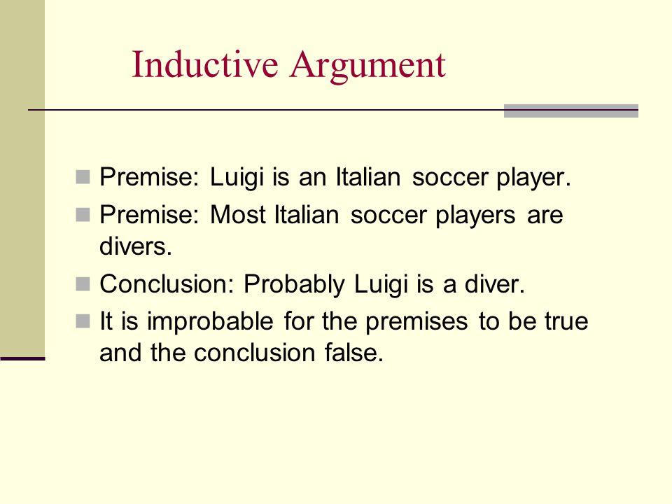 Inductive Argument Premise: Luigi is an Italian soccer player.