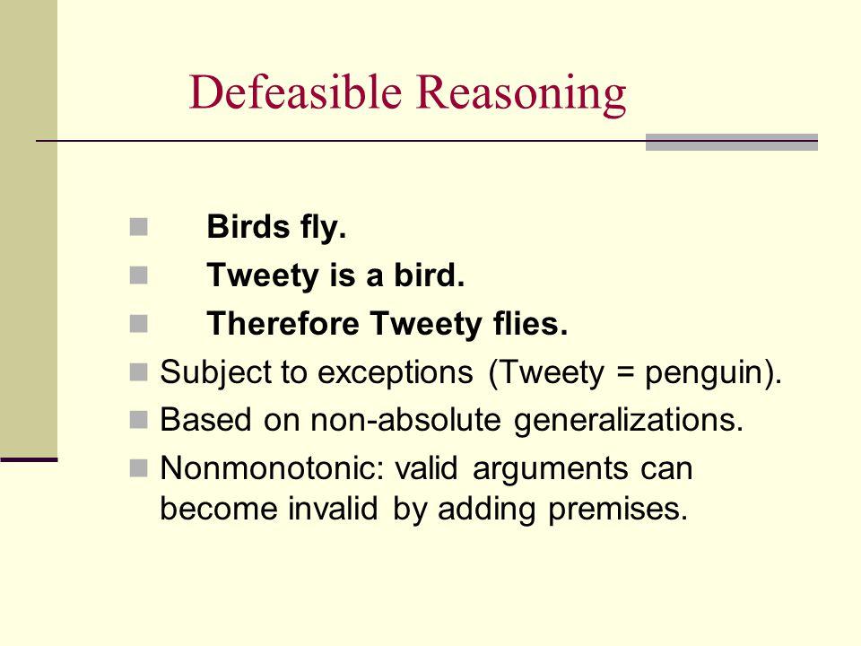 Defeasible Reasoning Birds fly. Tweety is a bird.