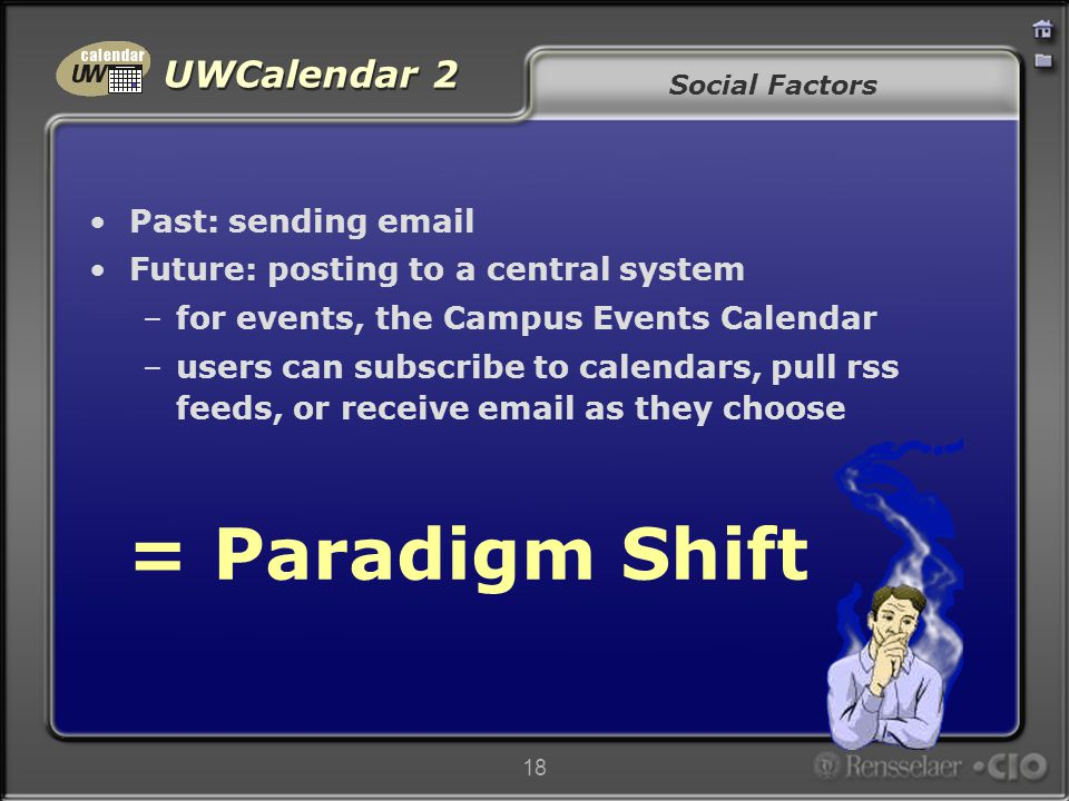 UWCalendar 2 18 Social Factors Past: sending email Future: posting to a central system –for events, the Campus Events Calendar –users can subscribe to calendars, pull rss feeds, or receive email as they choose = Paradigm Shift