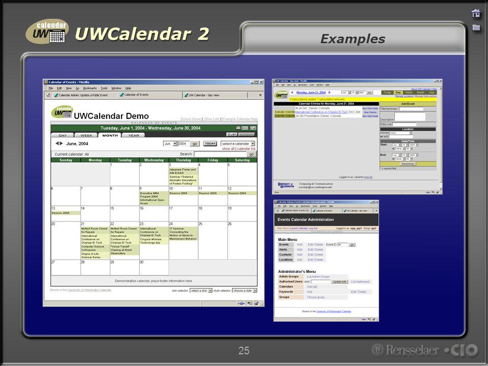 UWCalendar 2 25 Examples