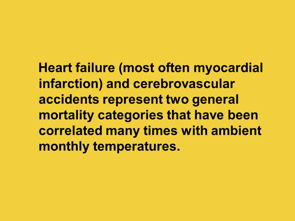Heart failure (most often myocardial infarction) and cerebrovascular accidents represent two general mortality categories that have been correlated many times with ambient monthly temperatures.