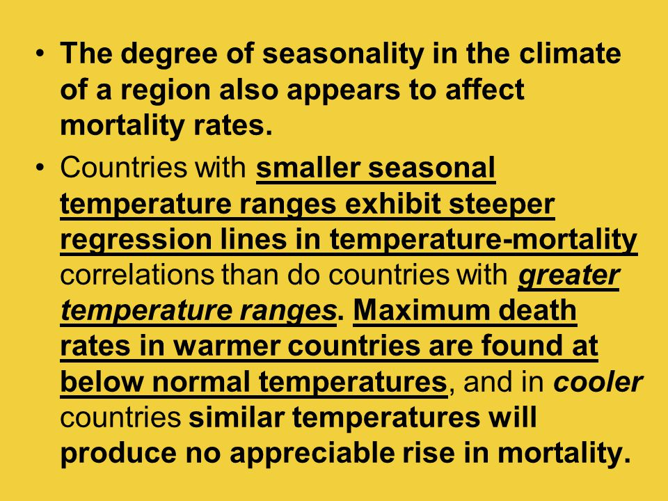 The degree of seasonality in the climate of a region also appears to affect mortality rates. Countries with smaller seasonal temperature ranges exhibi