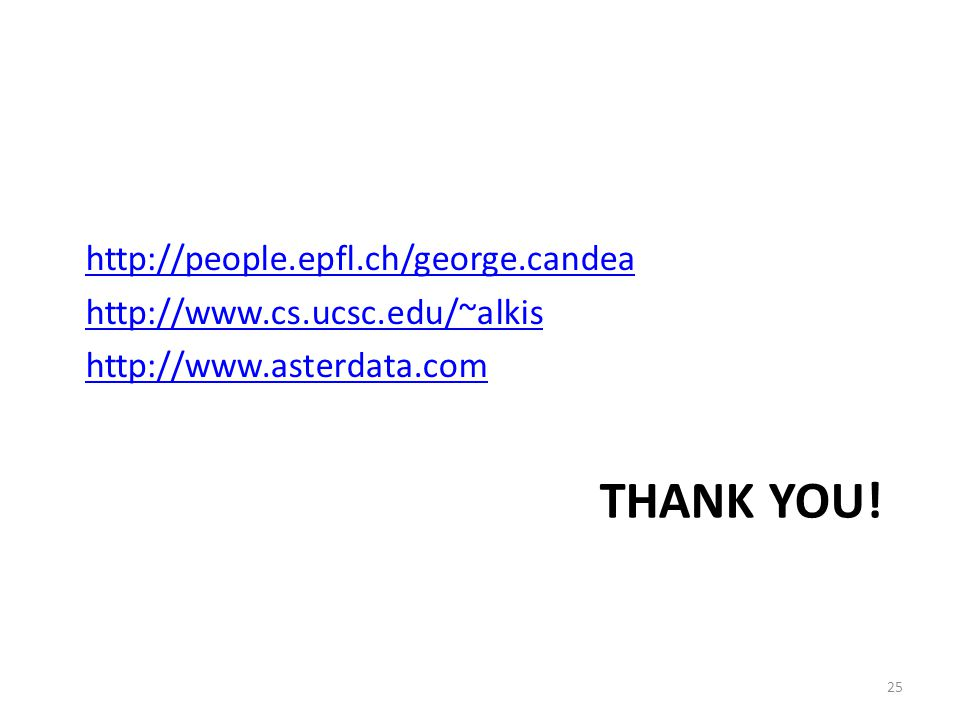THANK YOU! http://people.epfl.ch/george.candea http://www.cs.ucsc.edu/~alkis http://www.asterdata.com 25
