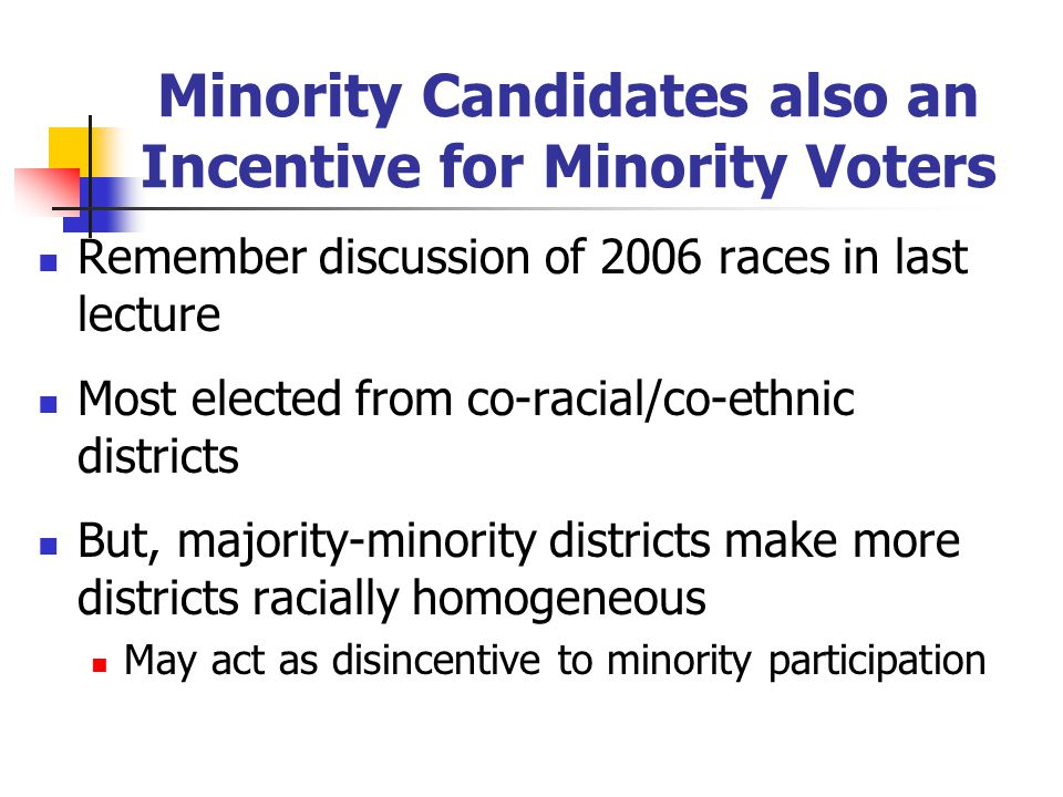 Minority Candidates also an Incentive for Minority Voters Remember discussion of 2006 races in last lecture Most elected from co-racial/co-ethnic dist