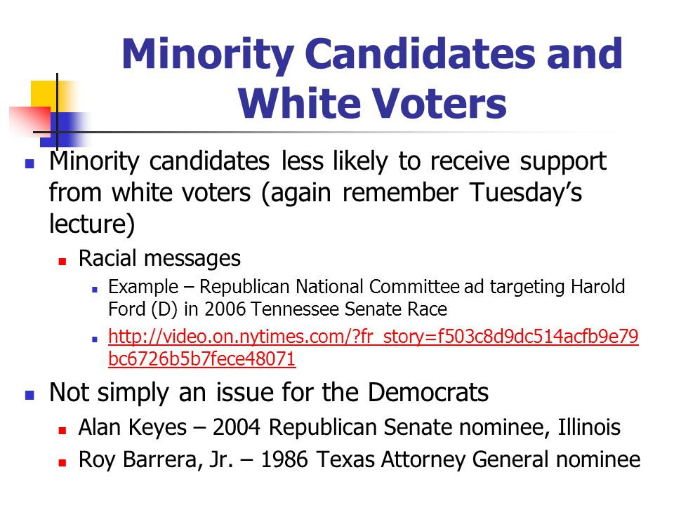 Minority Candidates and White Voters Minority candidates less likely to receive support from white voters (again remember Tuesday's lecture) Racial messages Example – Republican National Committee ad targeting Harold Ford (D) in 2006 Tennessee Senate Race http://video.on.nytimes.com/?fr_story=f503c8d9dc514acfb9e79 bc6726b5b7fece48071 http://video.on.nytimes.com/?fr_story=f503c8d9dc514acfb9e79 bc6726b5b7fece48071 Not simply an issue for the Democrats Alan Keyes – 2004 Republican Senate nominee, Illinois Roy Barrera, Jr.