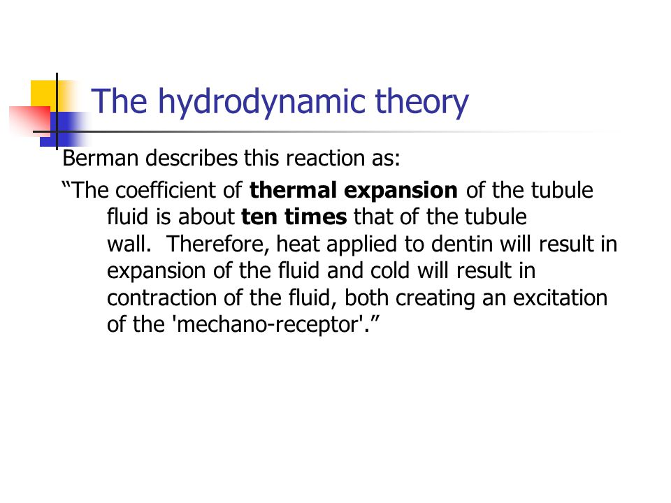 "The hydrodynamic theory Berman describes this reaction as: ""The coefficient of thermal expansion of the tubule fluid is about ten times that of the tu"