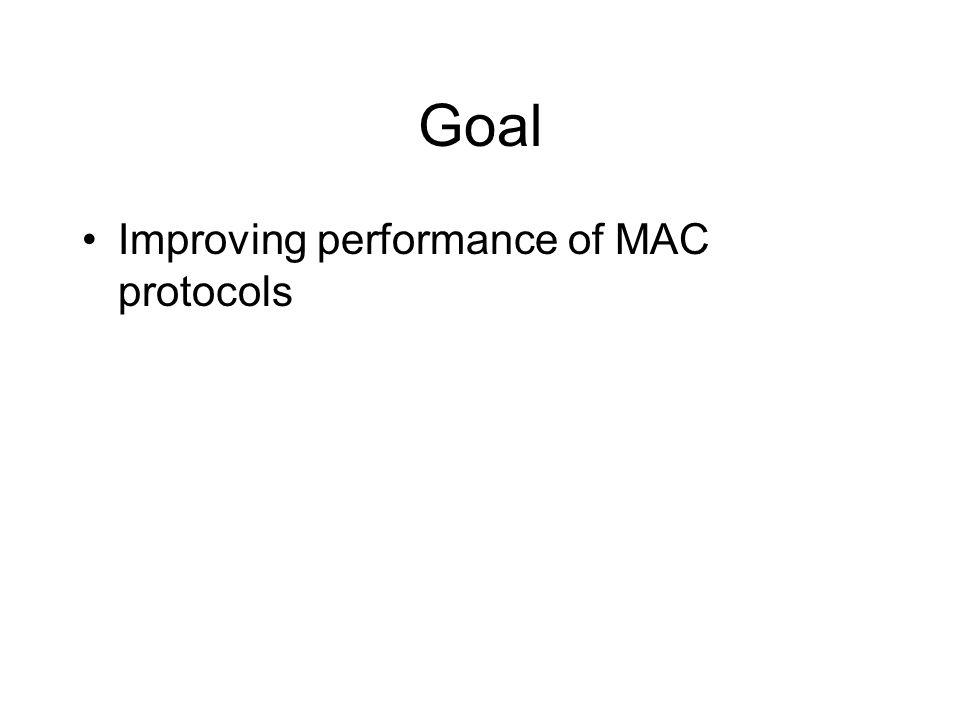 Goal Improving performance of MAC protocols
