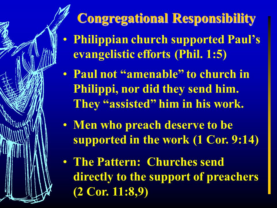 Congregational Responsibility Philippian church supported Paul's evangelistic efforts (Phil.