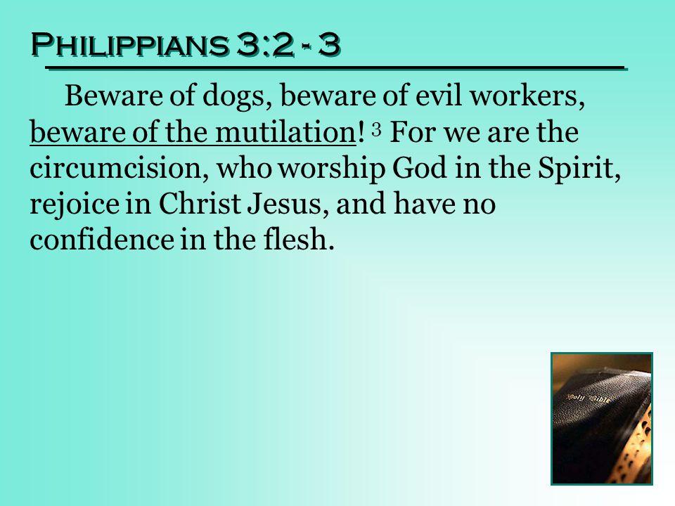 Philippians 3:2 - 3 Beware of dogs, beware of evil workers, beware of the mutilation.
