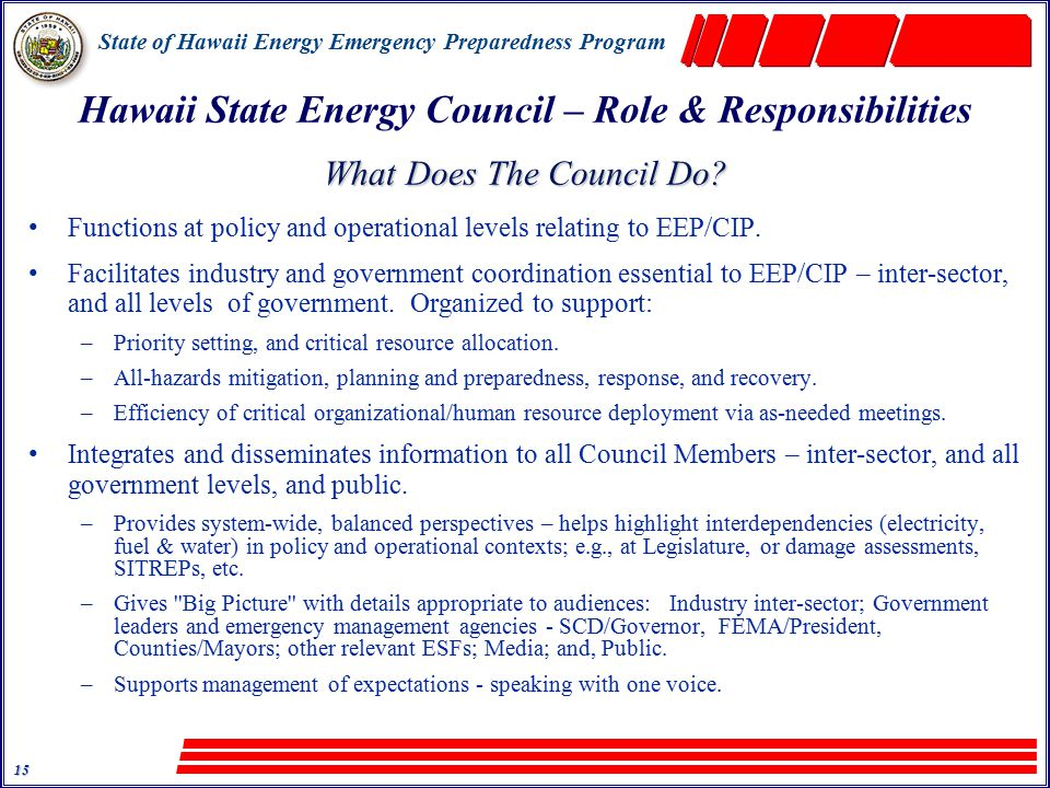 State of Hawaii Energy Emergency Preparedness Program 15 Hawaii State Energy Council – Role & Responsibilities What Does The Council Do.