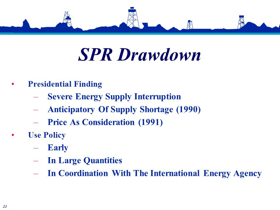 Presidential Finding –Severe Energy Supply Interruption –Anticipatory Of Supply Shortage (1990) –Price As Consideration (1991) Use Policy –Early –In Large Quantities –In Coordination With The International Energy Agency SPR Drawdown 23
