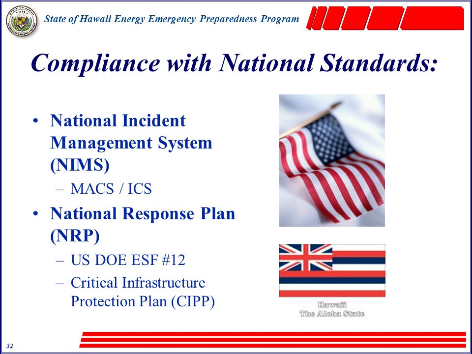 State of Hawaii Energy Emergency Preparedness Program 32 Compliance with National Standards: National Incident Management System (NIMS) –MACS / ICS National Response Plan (NRP) –US DOE ESF #12 –Critical Infrastructure Protection Plan (CIPP)