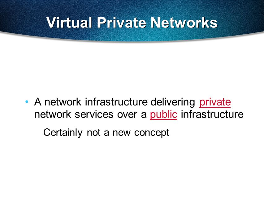 Virtual Private Networks A network infrastructure delivering private network services over a public infrastructure Certainly not a new concept