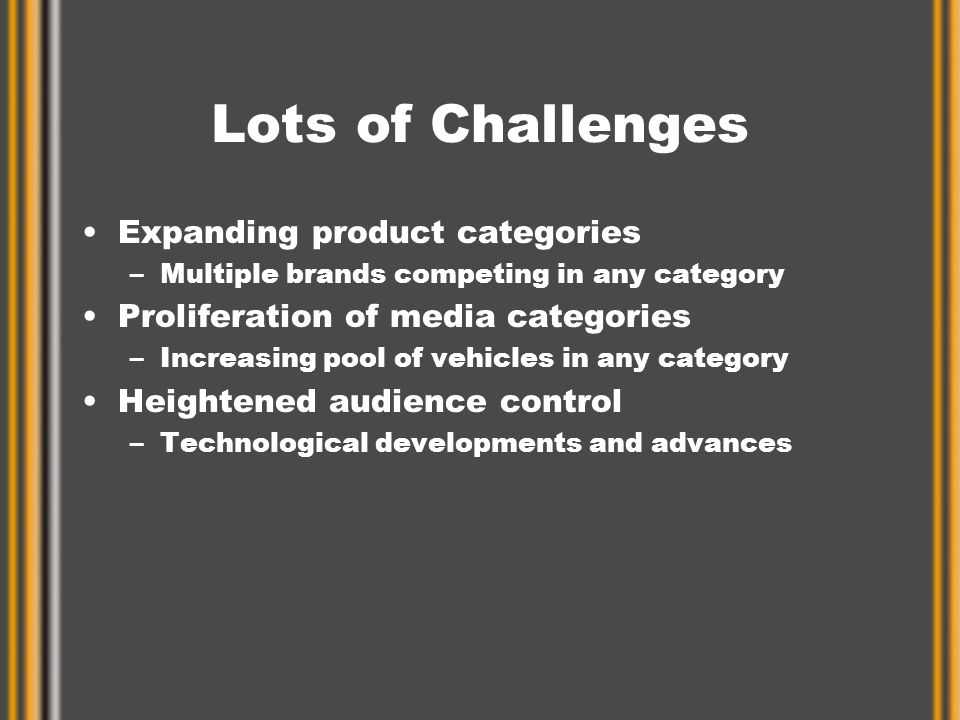 Lots of Challenges Expanding product categories –Multiple brands competing in any category Proliferation of media categories –Increasing pool of vehicles in any category Heightened audience control –Technological developments and advances