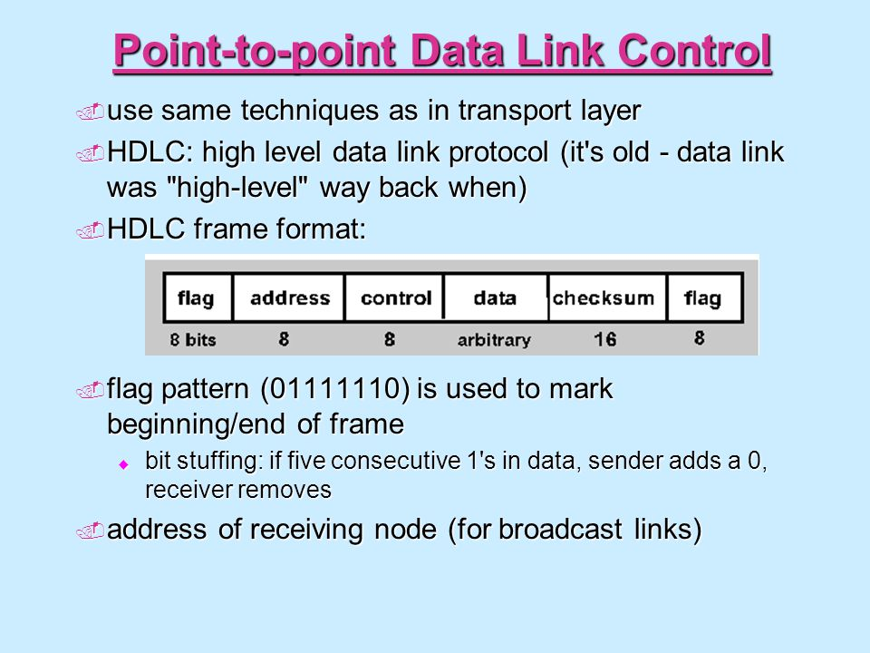 Point-to-point Data Link Control  use same techniques as in transport layer  HDLC: high level data link protocol (it's old - data link was