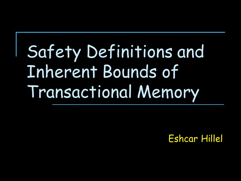 2 Transactional Memory Concurrency control mechanism Concurrent processes synchronize via in-memory transactions Inspired by database transactions A transaction is  a sequence of operations  on a set of data items (data set)  to be executed atomically