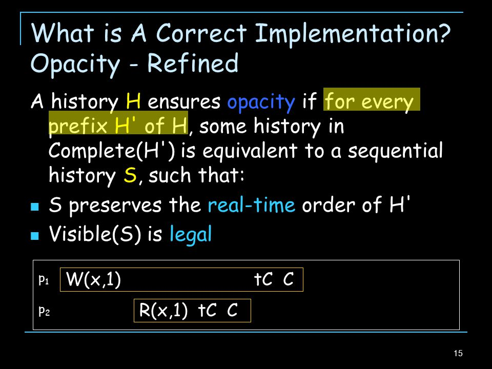 15 What is A Correct Implementation.