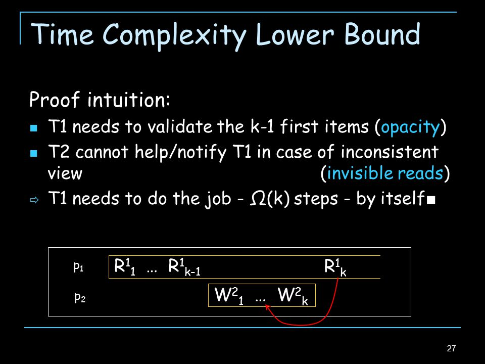 27 Time Complexity Lower Bound Proof intuition: T1 needs to validate the k-1 first items (opacity) T2 cannot help/notify T1 in case of inconsistent view (invisible reads)  T1 needs to do the job - Ω(k) steps - by itself ■ p1p1 p2p2 R 1 1 … R 1 k-1 R1kR1k W 2 1 … W 2 k