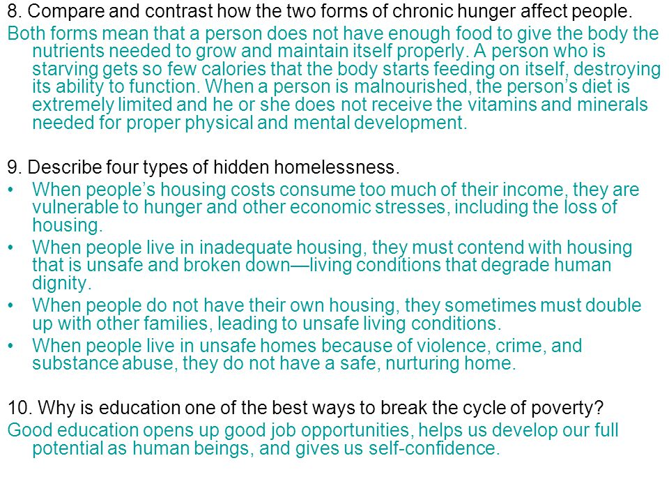 8.Compare and contrast how the two forms of chronic hunger affect people.