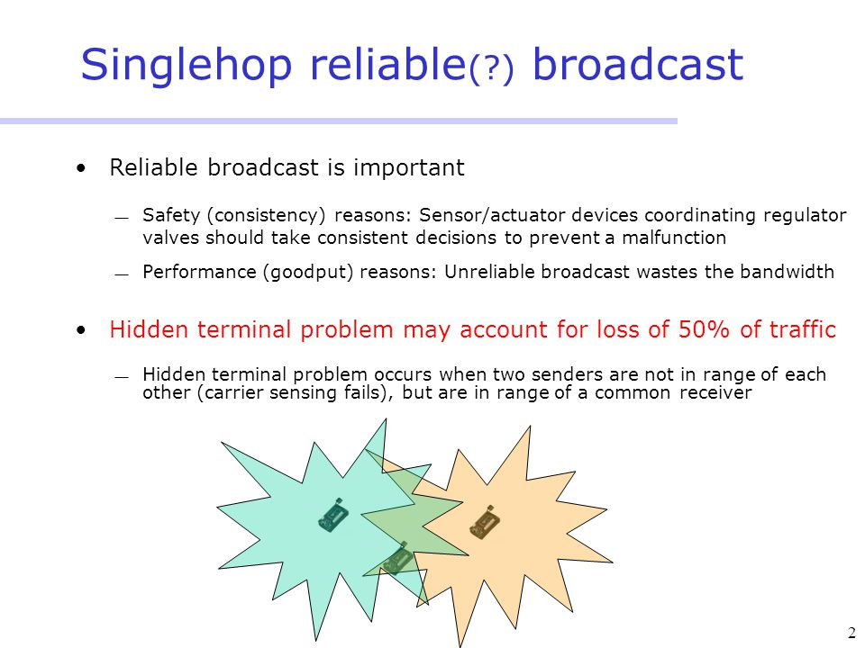 2 Singlehop reliable ( ) broadcast Reliable broadcast is important  Safety (consistency) reasons: Sensor/actuator devices coordinating regulator valves should take consistent decisions to prevent a malfunction  Performance (goodput) reasons: Unreliable broadcast wastes the bandwidth Hidden terminal problem may account for loss of 50% of traffic  Hidden terminal problem occurs when two senders are not in range of each other (carrier sensing fails), but are in range of a common receiver