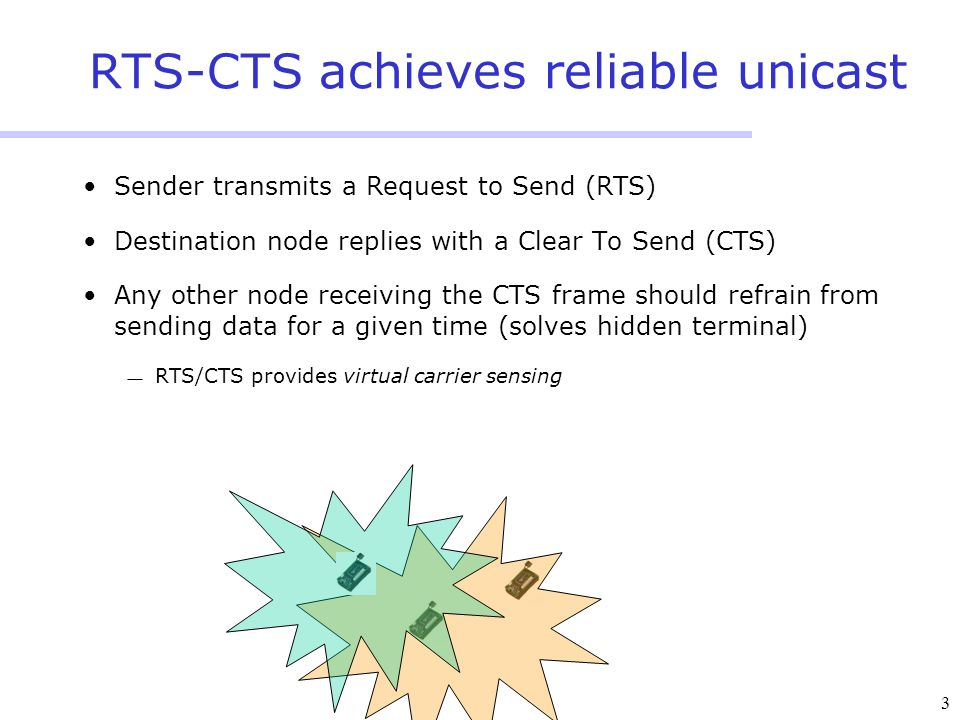 3 RTS-CTS achieves reliable unicast Sender transmits a Request to Send (RTS) Destination node replies with a Clear To Send (CTS) Any other node receiving the CTS frame should refrain from sending data for a given time (solves hidden terminal)  RTS/CTS provides virtual carrier sensing