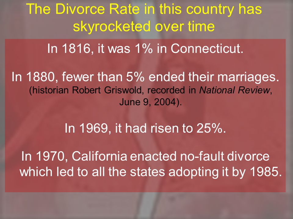 The Divorce Rate in this country has skyrocketed over time In 1816, it was 1% in Connecticut.