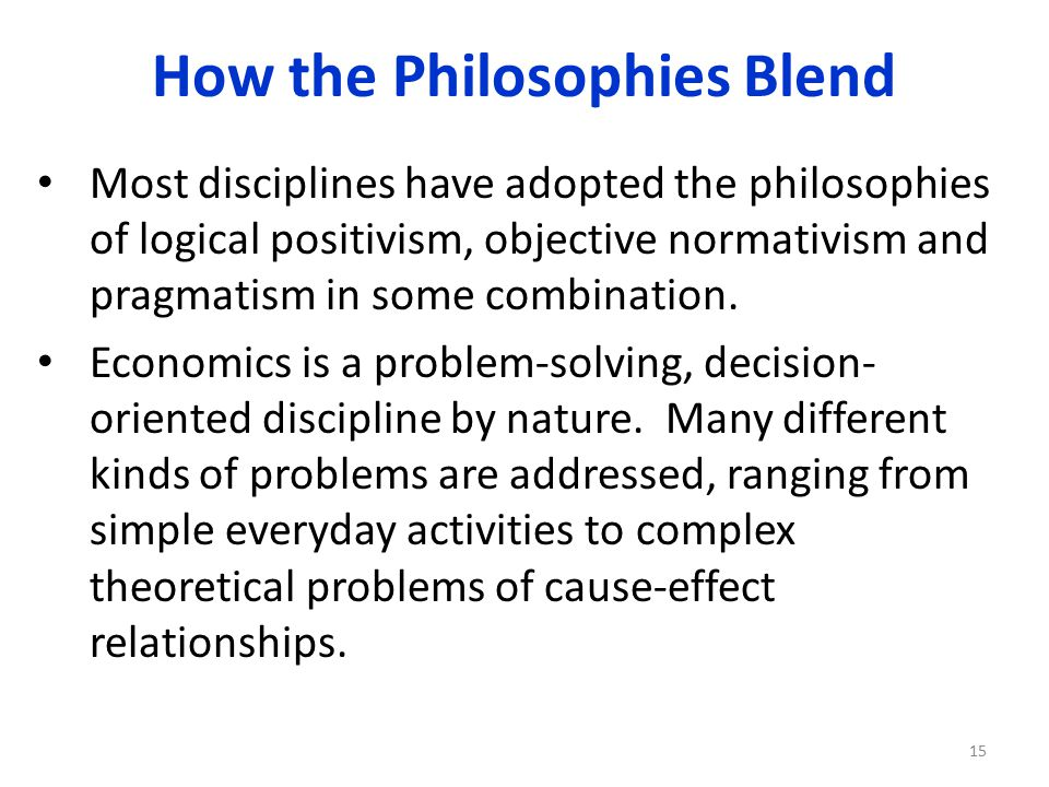 How the Philosophies Blend Most disciplines have adopted the philosophies of logical positivism, objective normativism and pragmatism in some combination.