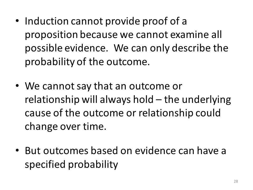 Induction cannot provide proof of a proposition because we cannot examine all possible evidence.