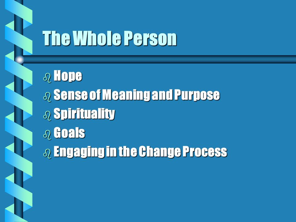 The Whole Person b Hope b Sense of Meaning and Purpose b Spirituality b Goals b Engaging in the Change Process