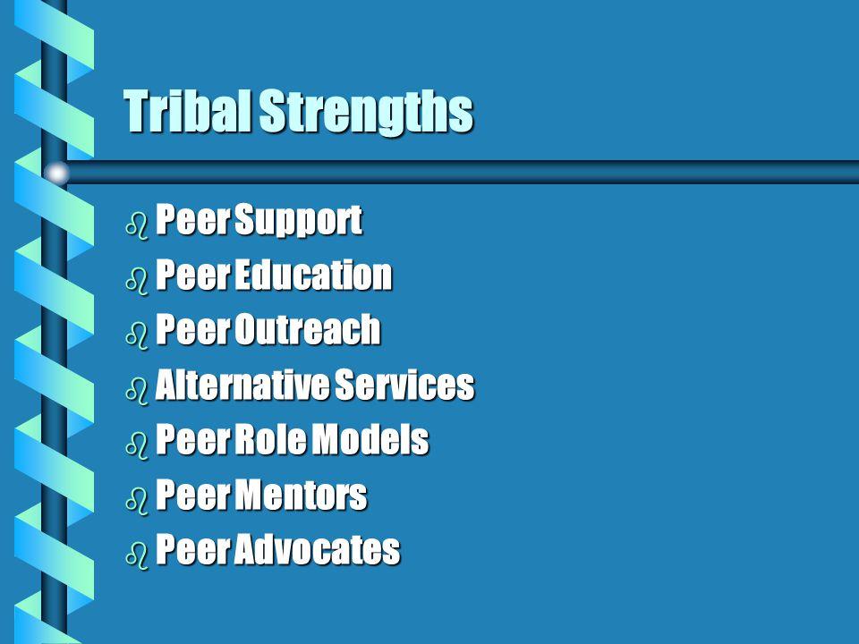 Tribal Strengths b Peer Support b Peer Education b Peer Outreach b Alternative Services b Peer Role Models b Peer Mentors b Peer Advocates