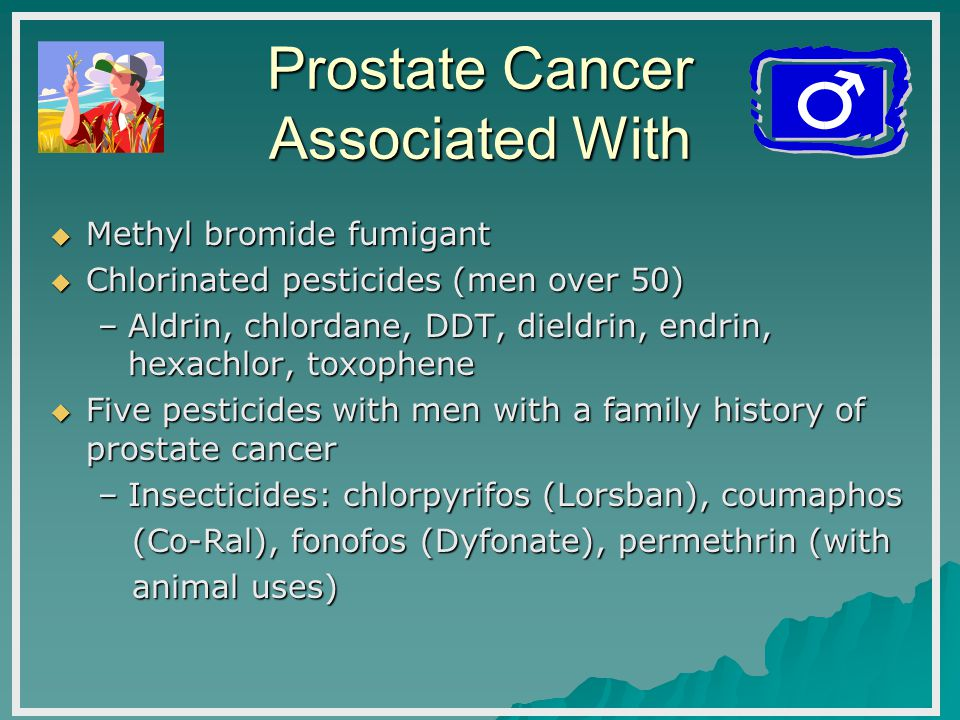 Prostate Cancer Associated With  Methyl bromide fumigant  Chlorinated pesticides (men over 50) –Aldrin, chlordane, DDT, dieldrin, endrin, hexachlor, toxophene  Five pesticides with men with a family history of prostate cancer –Insecticides: chlorpyrifos (Lorsban), coumaphos (Co-Ral), fonofos (Dyfonate), permethrin (with (Co-Ral), fonofos (Dyfonate), permethrin (with animal uses) animal uses)