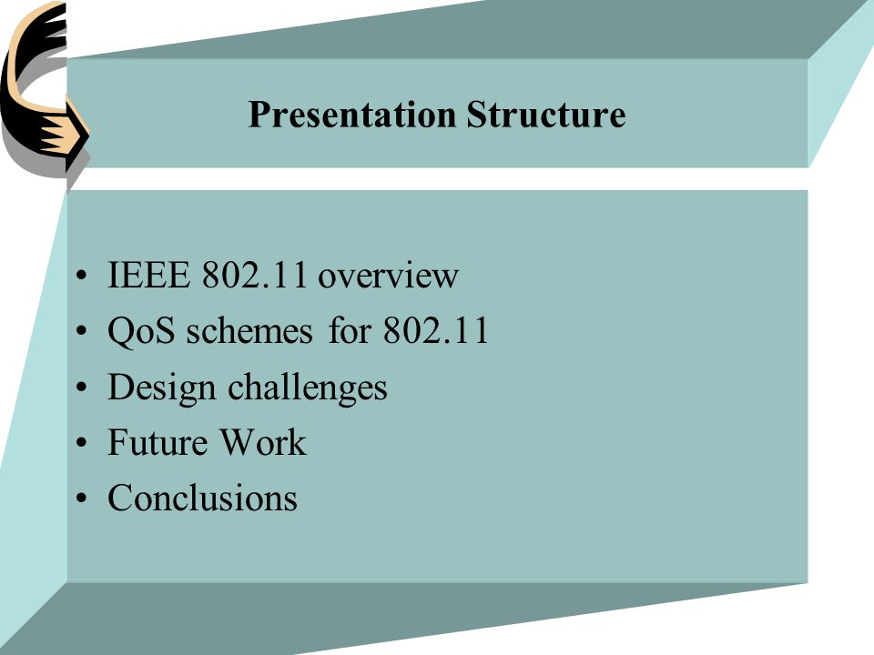 Presentation Structure IEEE 802.11 overview QoS schemes for 802.11 Design challenges Future Work Conclusions