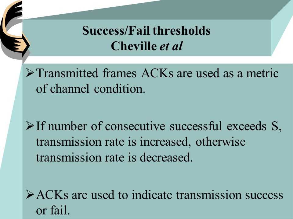 Success/Fail thresholds Cheville et al  Transmitted frames ACKs are used as a metric of channel condition.  If number of consecutive successful exce